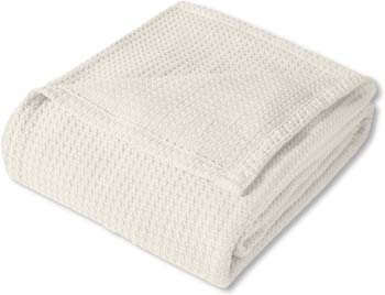 5. Sweet Home Collection 100% Fine Cotton Luxurious Basket Weave Blanket, Ivory