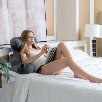 10. ZOEMO Bed Rest Reading Pillow - Bedrest Pillows with Arm Rests and Neck Roll