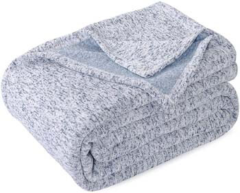 6. KAWAHOME Knit Blanket Lightweight Breathable Fuzzy Heather Jersey Thin Blanket for Couch