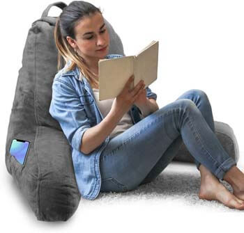 6. Springcoo Reading Pillow-Shredded Foam TV Pillow with Removable Cover-Great Support for Reading, Relaxing, Watching TV