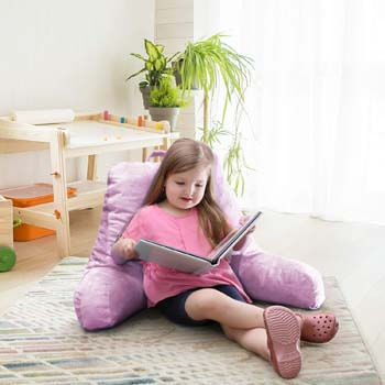 8. Nestl Reading Pillow, Medium Bed Rest Pillow with Arms for Kids Teens & Adults –