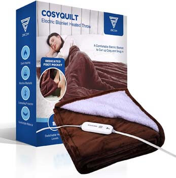 6. Electric Blanket Heated Throw Sherpa & Flannel with 3 Types of Adjustable Heating Levels